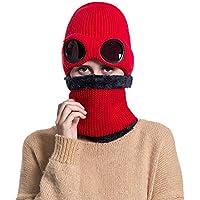 GHC Gorras y Sombreros Sombreros de Invierno de Kint al Aire Libre para Mujer Sombrero Flexible para Montar en el Cuello Beanie de Clima frío 3 en 1 (Color : Rojo)