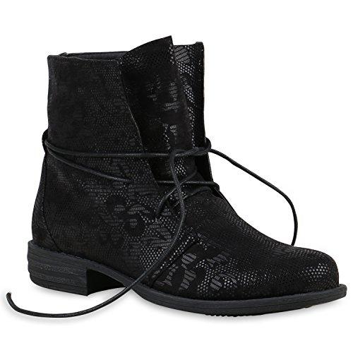 Schnürstiefeletten Damen Schuhe Prints Stiefeletten Leder-Optik 124798 Schwarz Black Muster 36 Flandell