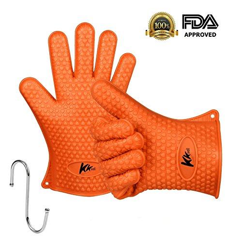 Zubehör Bbq Cooles (kkwell Handschuhe Hohe Qualität Silikon gloves-heat beständig Grillen bbq-new Schutz Ofen-Grill, Backen, Räuchern und Kochen Handschuhe–Unverzichtbar für jede BBQ FAN–Five Finger Slots Cool Praktische Kochen Werkzeug & Zubehör Orange)