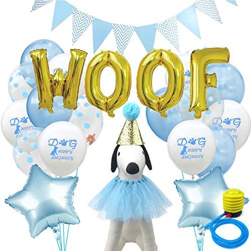 Alfie Pet - Presley Geburtstagsmütze, Halsband, Luftballons und Fahne für Haustiere, Farbe: Blau -