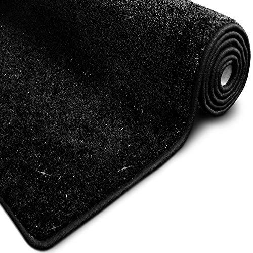 casa pura Glitzer-Teppich Memphis | viele Größen | mit eingewebten Glitzerfäden | Flurteppich, Wohnzimmerteppich, Küchenteppich, Schlafzimmerteppich (Schwarz - 80x150 cm)