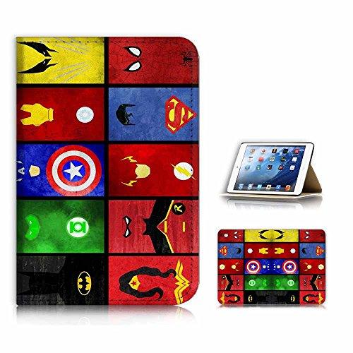 (für iPad Mini 4, Generation 4) Flip Case Cover & Displayschutzfolie Bundle-A21007Superheld Batman Wonder Woman Superman Collection