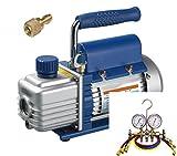 Kälte - Klima - Set TÜV Vakuumpumpe + Monteurhilfe + Schläuche, 51 - 57lt., R134a R404a R410a