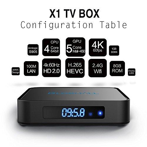 Globmall-Android-60-TV-Box-with-Mini-Tastiera-Wireless-2017-Model-X1-4K-Android-TV-Box-1GB-RAM-8GB-ROM-and-Bluetooth-40-with-Quad-Core-CPU-64-Bits-AmlogicS905X