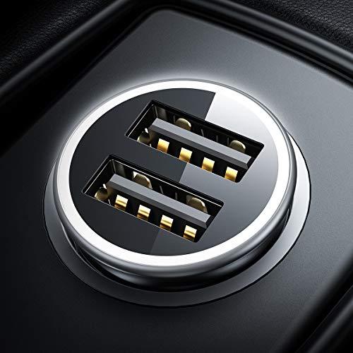 Caricabatteria auto USB, 4.8A/24W [Tutto metallo] Caricatore adattatore universale 2 Porte [Indicatore stato tensione vettura display] Caricabatterie da auto per Phone, Samsung e altro ancora(Nero)