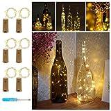 Gaddrt 6Pcs Warm White Wine Bottles Copper String Lights Micro Copper Wire Fairy Decor Lights Battery