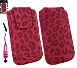 Emartbuy® Stylus Pack Per Samsung Galaxy Y Duos S6102 Range Classic Faux Suede Leopard Slide Rosa Nel Sacchetto / Cassa / Manicotto / Holder (Taglia Xl) Con Magnetic Flap & Pull Tab Mechanism + Metallico Mini Hot Rosa Stylus + Lcd Screen Protector