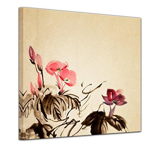 Kunstdruck - Aquarell - Chinesische Blume III - Bild auf Leinwand 40 x 40 cm einteilig -...