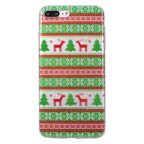 iPhone 7 Plus Hülle Weihnachten, Rosa Schleife iPhone 8 Plus Schutzhülle Ultra Dünn Transparent TPU Silikon Backcover Schale Weihnachten Muster Handyhülle für iPhone 8 Plus / 7 Plus Weihnachtsbaum