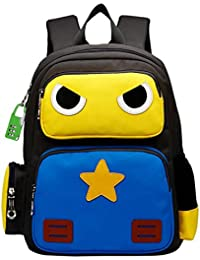 Kids Pupils Cartoon Lovely Robot Backpack For Boy Girl School Bag (Yellow And Blue)
