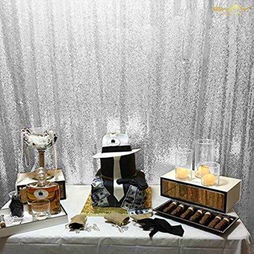 en Stoff Silbrig Schimmernd Kulisse 210x215cm Sequenz Vorhang Silber Glitter Hintergrund Vorhang Vorhänge ()