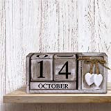Shabby Chic Rustic Vintage Retro Wooden Perpetual Calendar Date Blocks Heart With Storage Compartment Box