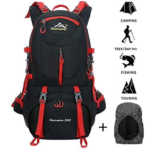 Imagen de 45l+5l impermeable  de senderismo con cubierta lluvia, paquete del alpinismo escalada marcha trekking camping deporte al aire libre unisex negro