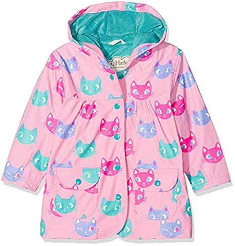 Hatley Printed Raincoats, Manteau Imperméable Fille, Pink (Silly Kitties), 2 Ans