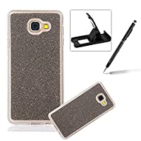For Samsung Galaxy A7 2017 Cover,For Samsung Galaxy A7 2017 Rubber Case,Herzzer Super Slim [Gray Gradient Color Changing] Dust Resistant Soft Flexible TPU Bling Glitter Protective Case for Samsung Galaxy A7 2017 + 1 x Free Black Cellphone Kickstand + 1 x