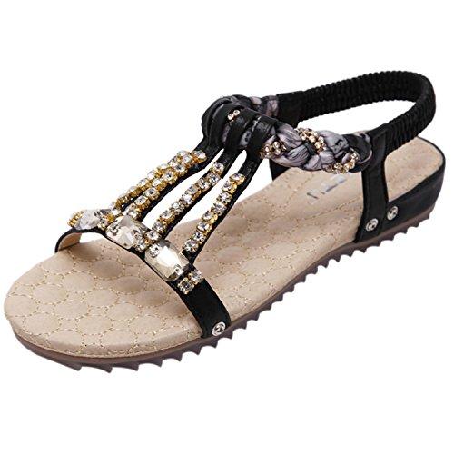 Azbro Women's Bohemian Rhinestone Open Toe Flats Sandals Black