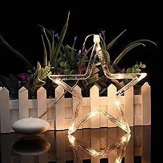 Weihnachtsbeleuchtung LED Fensterlicht Weihnachten Außen Innen Saugnapf hängende Dekobeleuchtung Fensterdeko Batteriebetrieb Warmweiß 8-LED Weihnachtsdeko für Schaufenster Tür Kinderzimmer Part