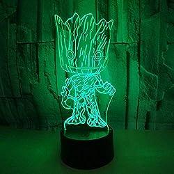 MJY Luz de noche estéreo LED Geek 3D Optical Vision, lámpara de escritorio de mesa de degradado colorida Botón táctil, luz de noche de control remoto Adecuado para niño Vacaciones de cumpleaños Regal
