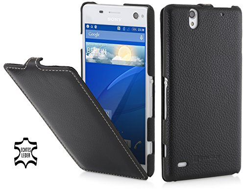 StilGut UltraSlim Case, Hülle aus Leder kompatibel mit Sony Xperia C4, schwarz