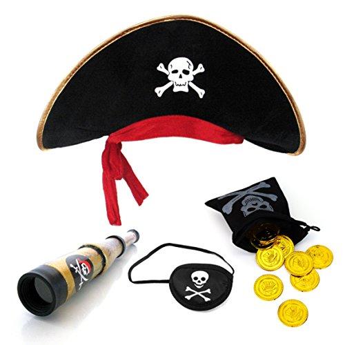 Piraten Hut + Augenklappe + Piratenfernrohr + 20 Stück Piratenschatz Gold Münzen + Schatzbeutel Piraten Geldsack Tasche für Kind Kapitän Piraten Party kleine Pirat Seeräuber Rollenspielen Hut Fernrohr eye patch (Hook Captain Kostüme Halloween)