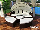 Swing & Harmonie Polyrattan Sonneninsel Rattan Lounge Liege Insel Sonnenliege Gartenliege (180cm, Braun)