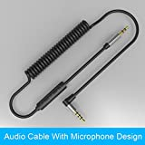 #9: Sanobyte Hotline 3.5mm Coiled Car Stereo Aux Cable Male to Male Audio Auxiliary Cable with 90 degree connector (Step Down Design, Gold Plated Connectors, Stretched Length 1 meter / 3.3 FT) with Microphone Hands-Free Calling for iPhone, iPod, iPad, Android & Blackberry Smartphones, MP3 Players, Tablets