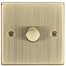 Knightsbridge CS2181AB Antique Brass Square Edge 1G 2 Way Dimmer, 200 W, 230 V