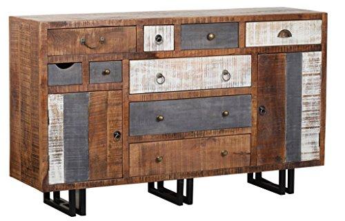 The Wood Times Sideboard Vintage Wohnzimmerschrank Massiv New Rustic Mangoholz, FSC Zertifiziert, BxHxT 148x88x40 cm