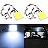 TABEN Blanc 48-cob-smd Panneau LED kit d'éclairage pour intérieur de voiture dôme carte Trunk Cargo lecture lumières ampoules 12V T10+ BA9S + adaptateurs (lot de 2)