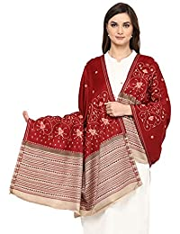 Pashtush Women's Embroidered Wool shawl Maroon with Stitched Beige Palla