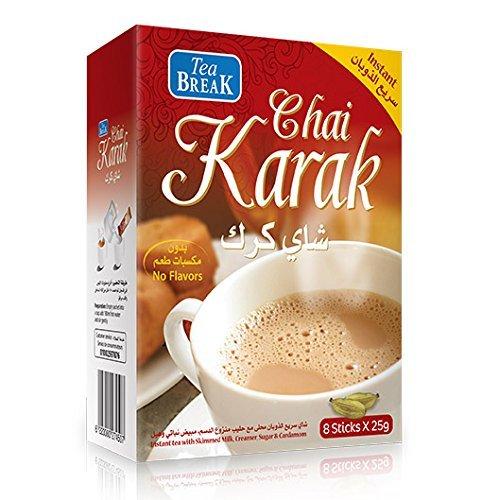 Instant Karak Chai Tee mit Milchpulver, Zucker und Kardamom, 8 x 25 g Beute -