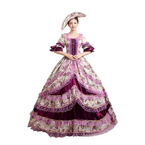 Cosplayitem Damen Mädchen Lagerter Gothic viktorianischen Kleid Kostüm Abendkleid Palace Maskerade Königin Prinzessin (Kostüme Mädchen Renaissance)