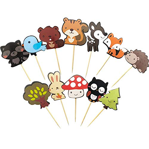 Kapoklife 1 11 36 Stück niedliche Kreaturen Cupcake Picks Animal Friends Topper Kids Woodland Theme Baby Shower Birthday Party Cake Decor 1