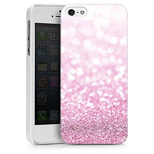 Apple iPhone X Silikon Hülle Case Schutzhülle Glitzer Look Pink Glanz Hard Case weiß