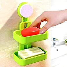 Magnusdeal Double Layer Soap Box Suction Cup Holder Rack Bathroom Shower Soap Dish Hanging Tray Wall Holder Storage Holders (Color May Vary).Dimensions (Height x Width): 21 x 12 cm. (1 pc). Color : Green
