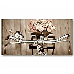 Bicicleta Vintage 3-cuadro moderno 90x 45cm Shabby Chic Impresión Lienzo Cuadros Modernos flores margaritas rústico rural Style Romantic Country Muebles Casa Salón Oficina Home Decor