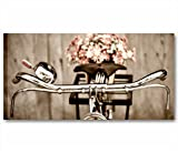 Fahrrad Vintage 3–Modernes Bild 90x 45cm Shabby Chic drucken Leinwand Moderne Blumen Gänseblümchen französischen Landhausstil Style Romantic Country Möbel Wohnzimmer Büro Home Decor