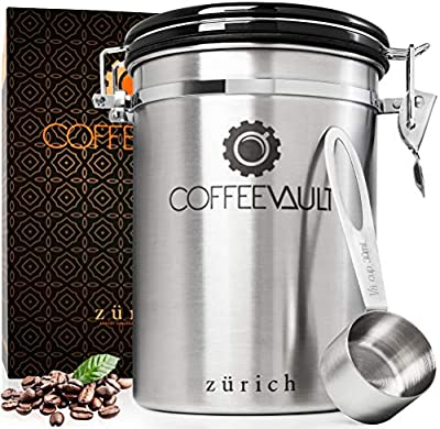 Coffee Vault Premium Coffee Canister Airtight - Large Stainless Steel Coffee Container by Zurich for 500g Coffee Storage with Measure Scoop. Roasted Coffee Beans and Ground Coffee Freshness Protected. from Zurich