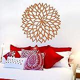 Adesivo da parete in vinile Fiore delineato Motivo a foglie Adesivo rimovibile Salone Soggiorno Camera da letto Decorazioni da parete L 42 * 42 cm
