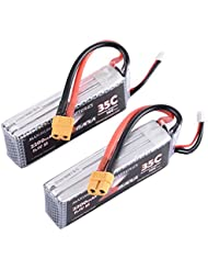 ManiaX 2pcs Lipo Battery Pack with XT60 Plug 11.1V 2200mAh 35-70C 3S for RC Car Boat Truck Roar Helicopter Airplane