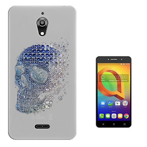 c00755 - Skull Skeleton Head Made Of Mini Blue Collage Mosaic Design alcatel A2 XL 6