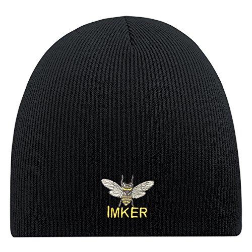 Beanie-Mütze mit Einstickung - Imker - 54845 Schwarz