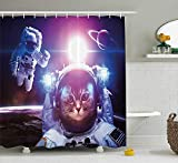 werert Space Cat Astronauts in Nebula Galaxy with Eclipse in Saturn Planets Image 60 x 72 Inch Bathroom Waterproof Shower Curtain Decoration with Hooks