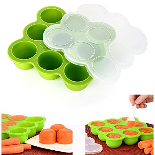 Cisixin Récipient Nourriture pour repas bebe - 9 pots de conservation, Boites de congélation Moule de Glace avec Couvercle en silicone (Vert)