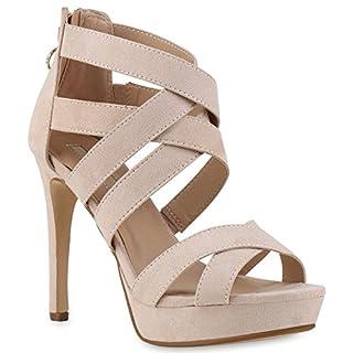 Stiefelparadies Damen Sandaletten Plateau Sandaletten Strass Stiletto Cut-Outs Party High Heels Lack Party Leder-Optik Schuhe 143237 Creme 36 Flandell