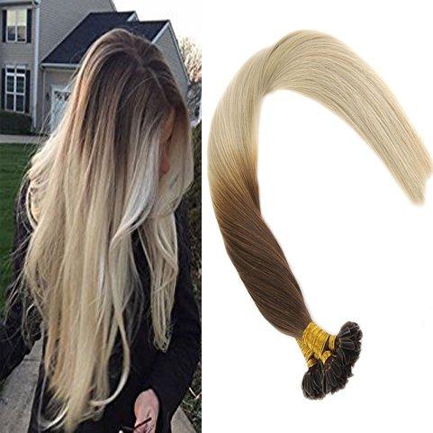 Sunny ombra capelli extensions u tip marrone scuro di candeggina bionda 100% veri remy lisci extensions 14