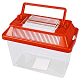 Small Animal Keeper Clear Plastic Box Tank With Ventilated Opening Lid Carry Handle Insects Spiders Reptiles Live Food Red