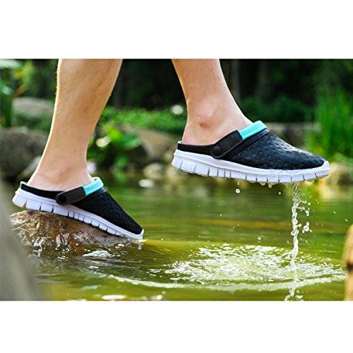 SAGUARO® Sommer Clogs Gefüttert Atmungsaktiv Mesh Hausschuhe Rutschfest Slippers Outdoor Strand Sandalen Pantoffeln Flach Sohle Schuhe Herren Damen Blau