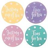 Multi–Farbige Pastell Polka Dot–Retro Vintage Keramik Untersetzer Set–Set von 4–Just My Cup Of Tea/Zeit für Tee
