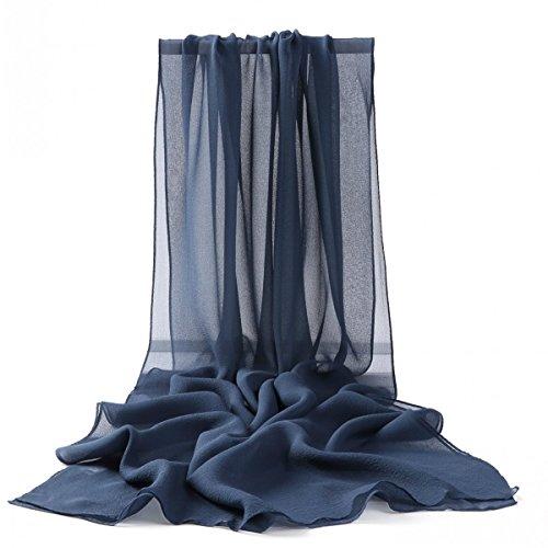 Prettystern - 176cm uni-farbe tinta unita semplice scialle in seta pura sciarpa - dunkel blau